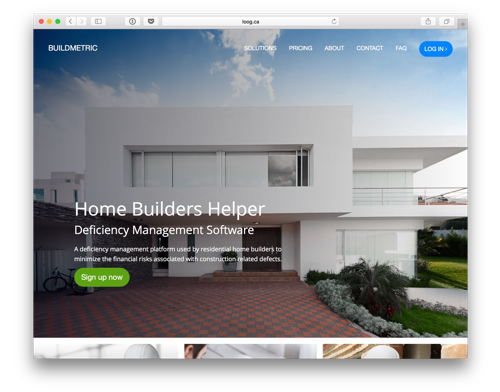Buildmetric's website prorotype