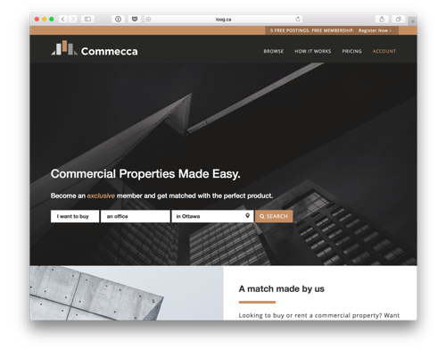 Commecca website prototype