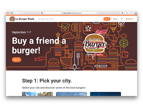Website prototype of Le Burger Week