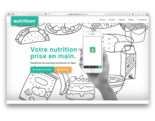 Nutritionr's website prototype