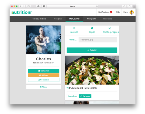 Nutritionr's app dashboard prototype